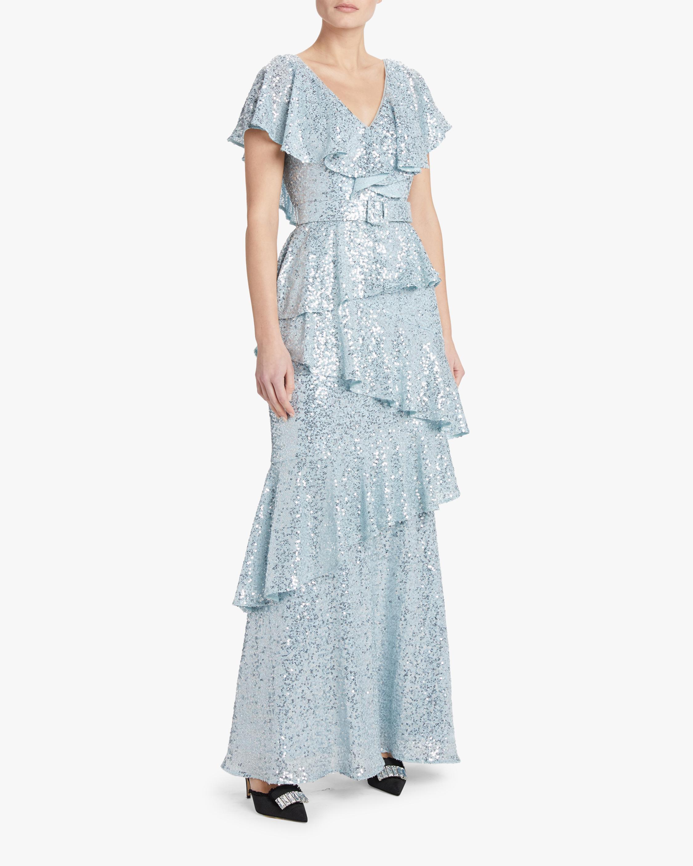 Badgley Mischka Sequin Ruffle Gown 2