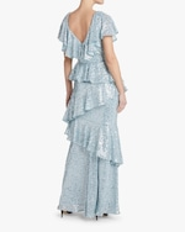 Badgley Mischka Sequin Ruffle Gown 3