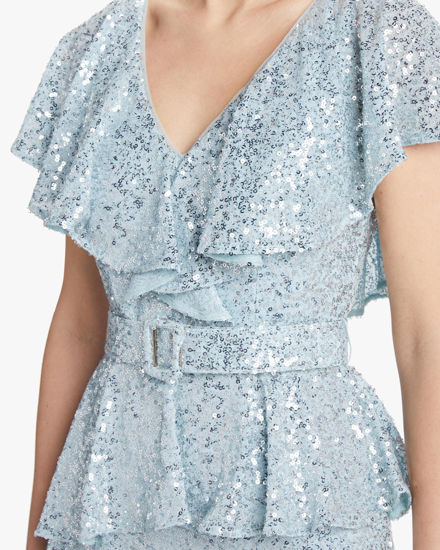 Badgley Mischka Sequin Ruffle Gown 4