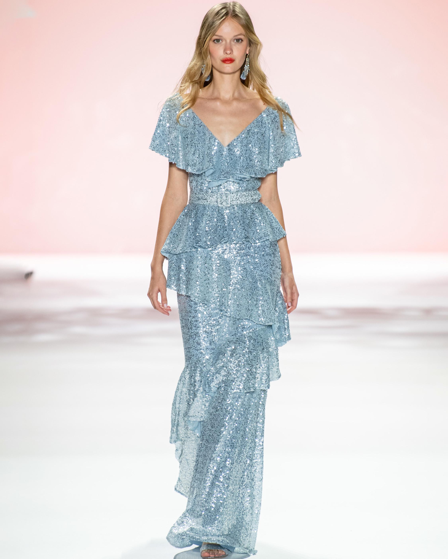 Badgley Mischka Sequin Ruffle Gown 5