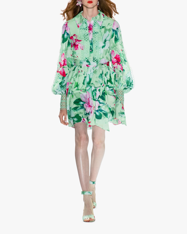 Badgley Mischka Button-Front Mini Dress 0