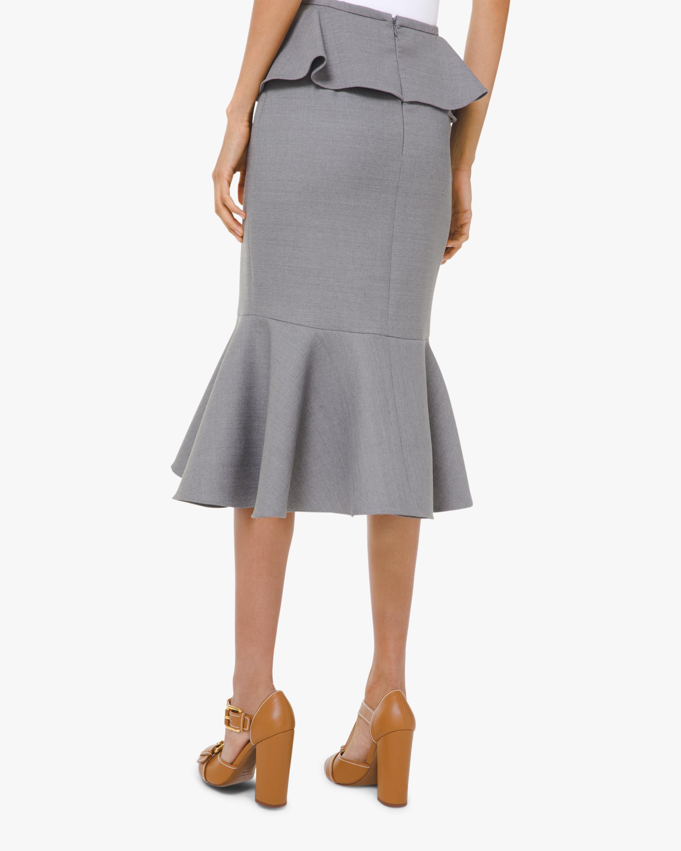 Gabardine Cascade Ruffle Wool Skirt