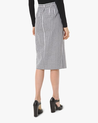 Gingham Front-Slit Pencil Skirt