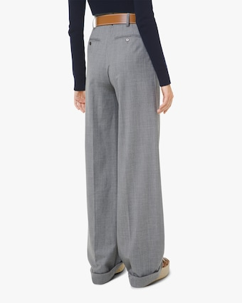 Pleated High Waisted Wool Pants