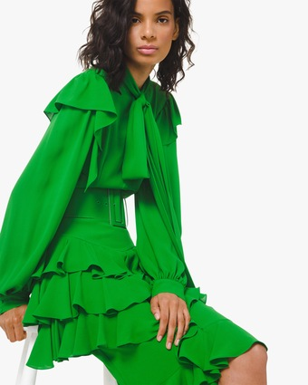 Georgette Ruffle-Tiered Belted Dress