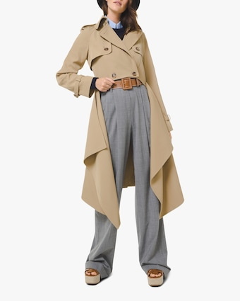 Gabardine Draped Wool Trench Coat