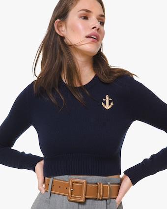 Anchor-Embellished Cropped Cashmere Sweater