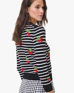 Michael Kors Collection Cherry-Embellished Crewneck Sweater 1