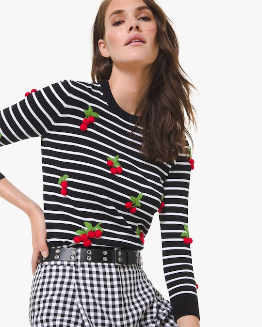 Michael Kors Collection Cherry-Embellished Crewneck Sweater 0