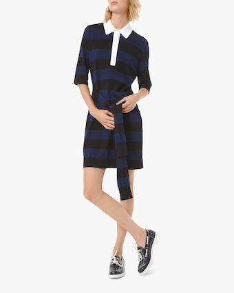 Waist-Tie Polo Shirt Dress