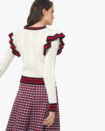 Michael Kors Collection Corallina Striped-Ruffle Cashmere Pullover 2