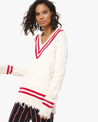 Corallina Frayed Cashmere Tennis Pullover