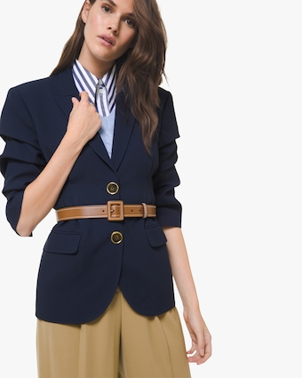 Double-Crêpe Sable Belted Blazer