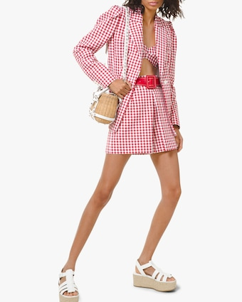 Gingham Puff-Sleeve Blazer