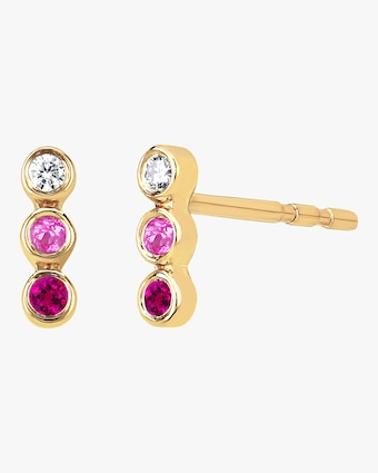 Triple Bezel Stud Earrings