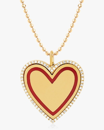 Diamond-Rimmed Heart Pendant Necklace