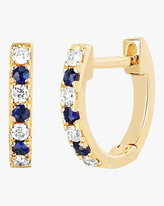 Diamond & Blue Sapphire Dot Huggie Earrings