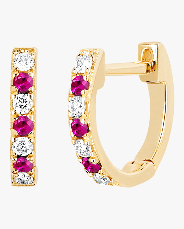 Mini Diamond & Ruby Dot Huggie Earrings