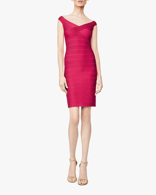 Herve Leger Basics Off-The-Shoulder Cocktail Dress 1