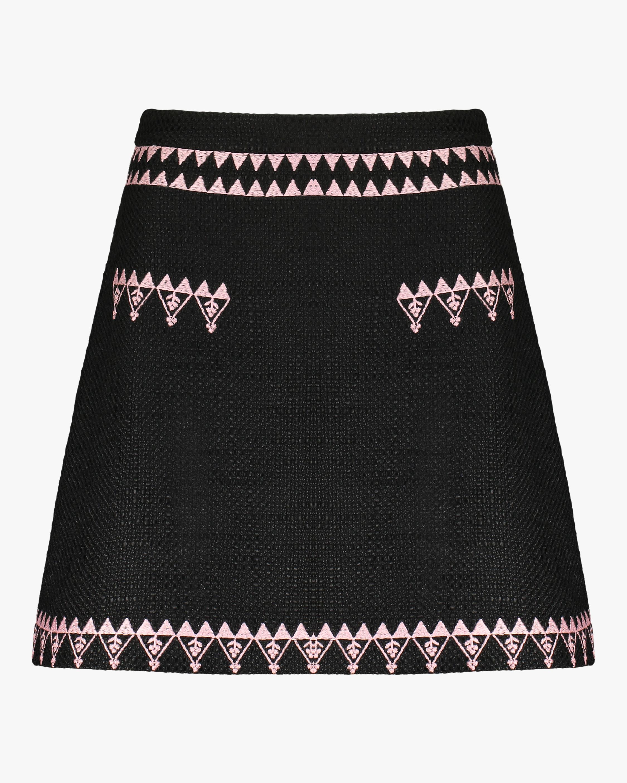 Cynthia Rowley Nicola Embroidered Tweed Skirt 0
