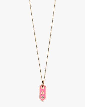 Tiny Signet Pink Enamel Initial Pendant Necklace