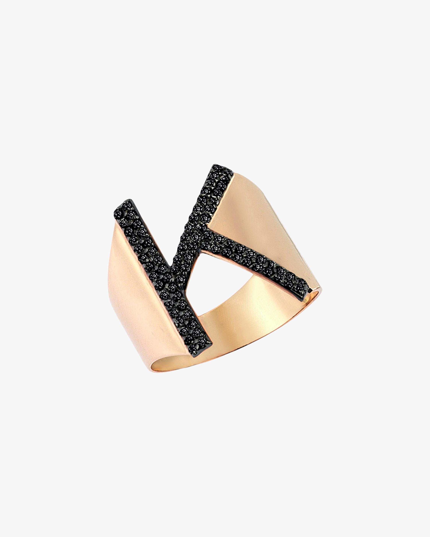 Black Diamond Initial Ring