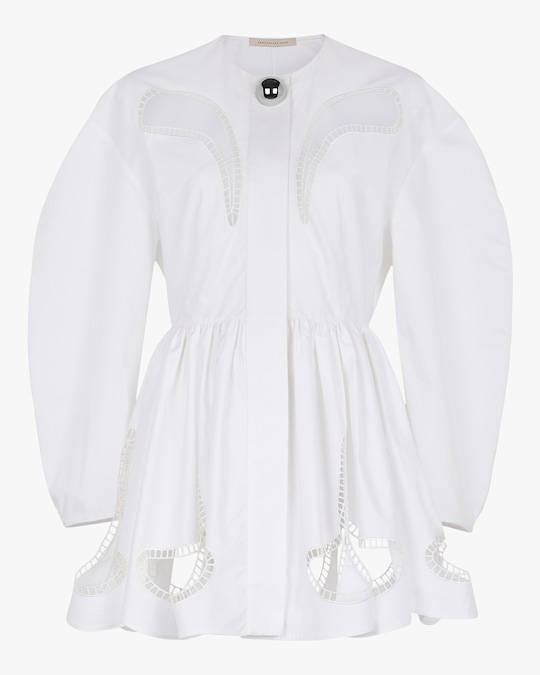 Christopher Kane Petal-Embroidered Gathered Mini Dress 0