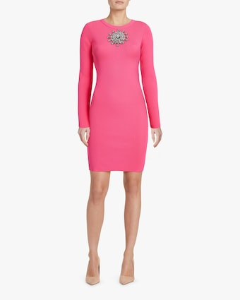 Christopher Kane Crystal-Neck Ribbed Mini Dress 2