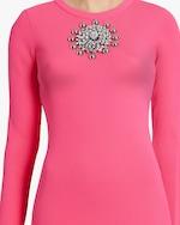 Christopher Kane Crystal-Neck Ribbed Mini Dress 3