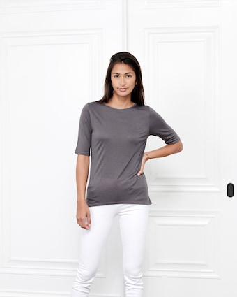 Fite Luxury Tees Cashmere Crewneck Three-Quarter Sleeve Top 2