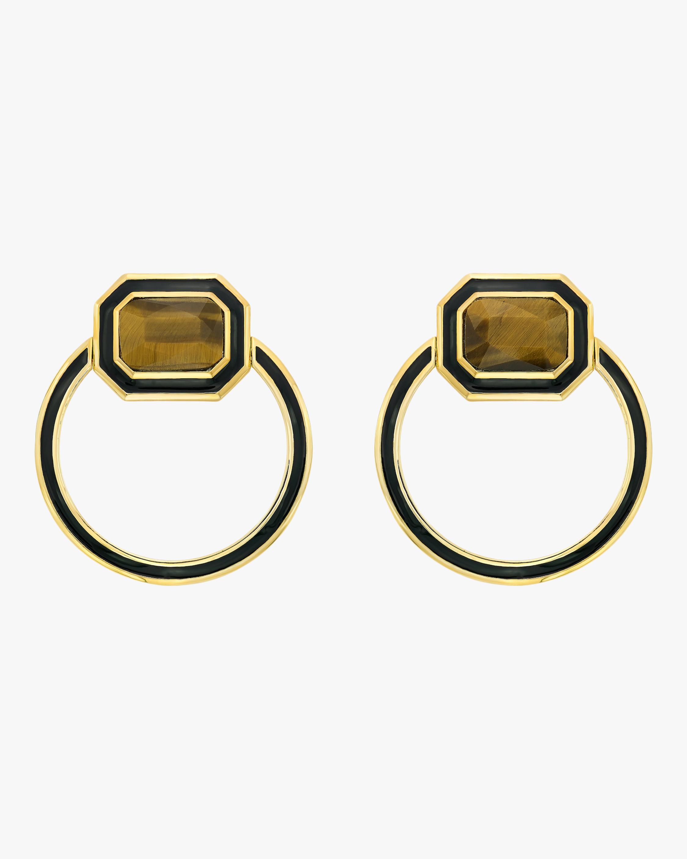 Isharya Chakra Tiger's Eye Shadow Loop Earrings 0