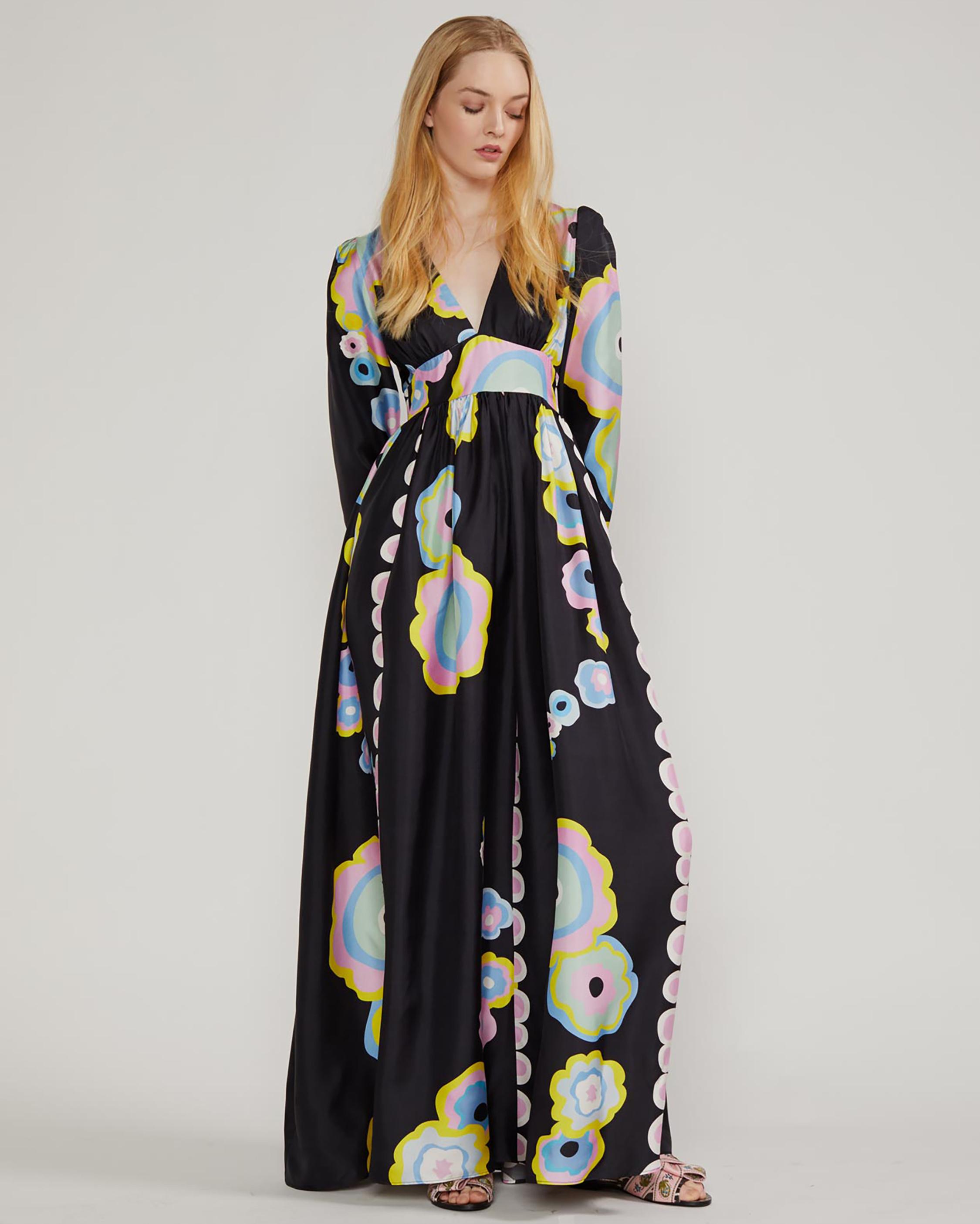 Cynthia Rowley Genevieve V Neck Maxi Dress 1