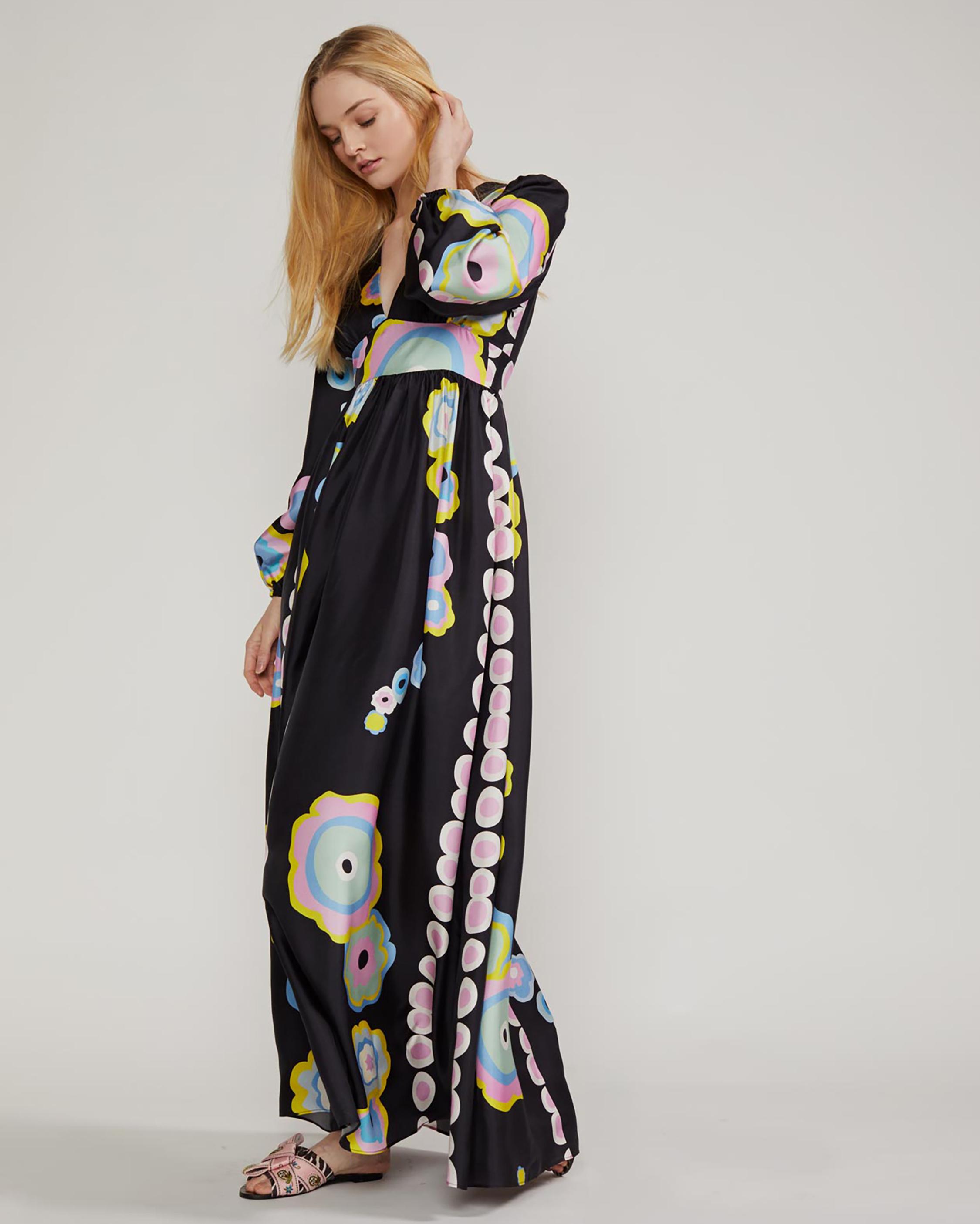 Cynthia Rowley Genevieve V Neck Maxi Dress 4