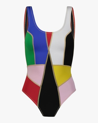 Cynthia Rowley Palmer Color Block One-Piece Swimsuit 1