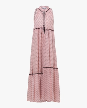 Checked Transparencies Sleeveless Dress
