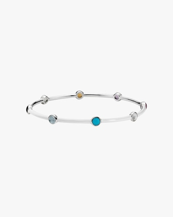 Carnevale Eight-Stone Silver Bangle Bracelet