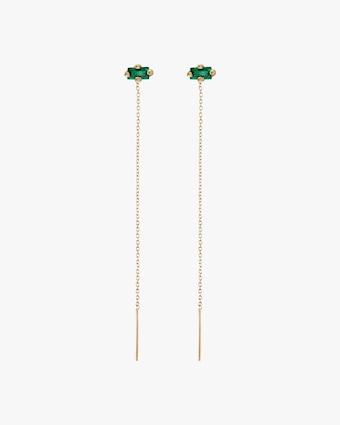 Lizzie Mandler Emerald Floating Threader Earrings 1