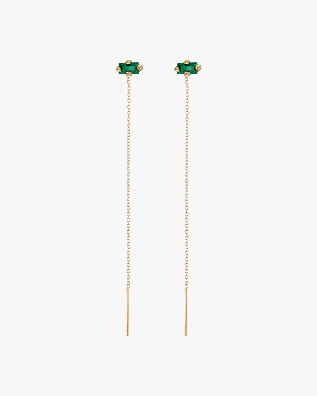 Lizzie Mandler Emerald Floating Threader Earrings 2