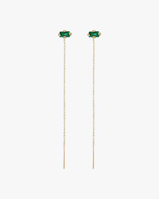 Lizzie Mandler Emerald Floating Threader Earrings 0