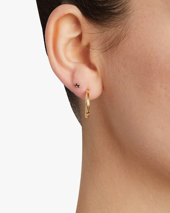 Single Baguette Black Diamond Mini Stud Earring