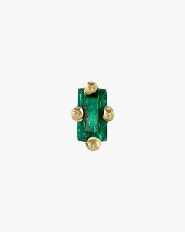 Lizzie Mandler Single Baguette Emerald Mini Stud Earring 2