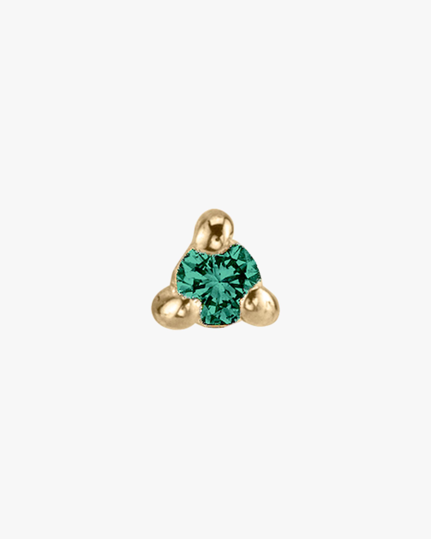 Lizzie Mandler Single Emerald Mini Stud Earring 1