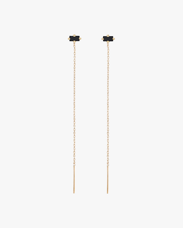 Lizzie Mandler Baguette Black Diamond Floating Threader Earrings 2