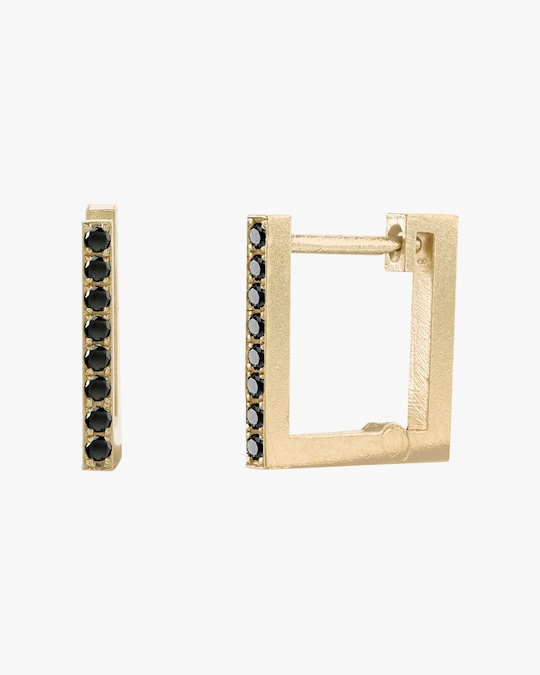 Lizzie Mandler Pavé Black Diamond Square Huggie Earrings 0