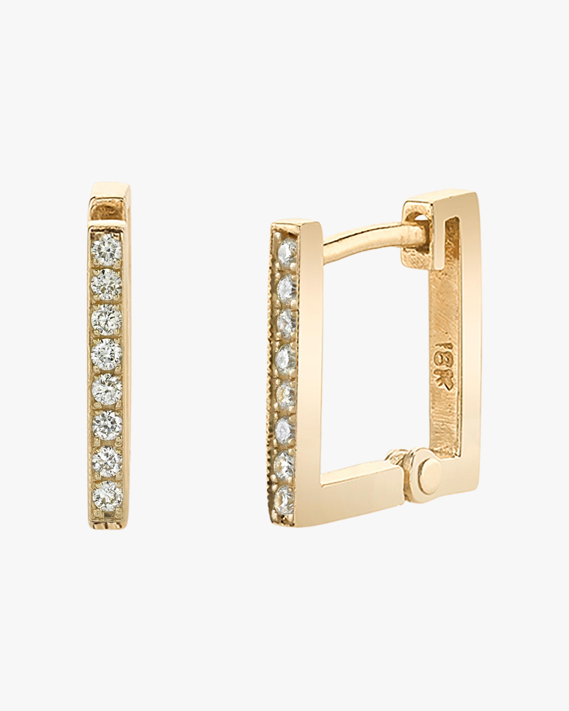 Lizzie Mandler Pavé White Diamond Square Huggie Earrings 1