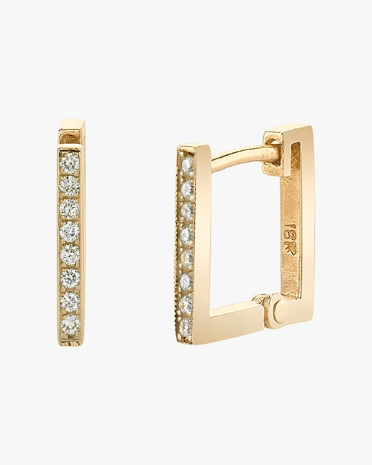 Lizzie Mandler Pavé White Diamond Square Huggie Earrings 0
