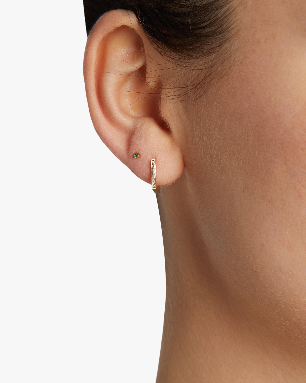 Lizzie Mandler Pavé White Diamond Square Huggie Earrings 2