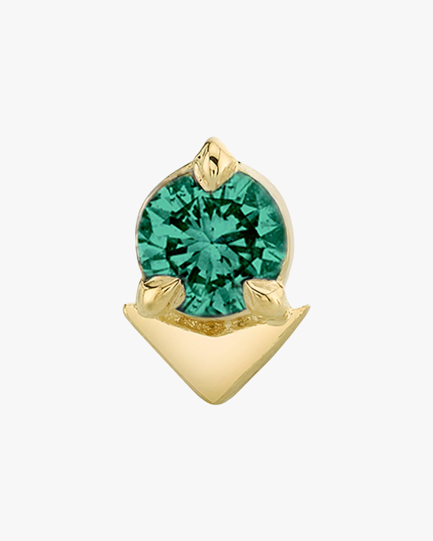 Lizzie Mandler Single Emerald Spike Stud Earring 1