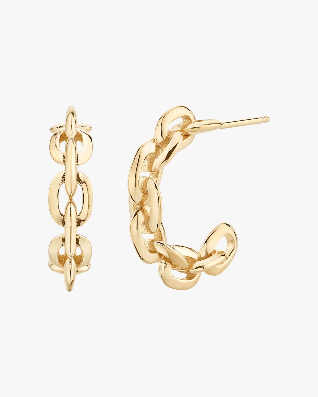 Small Knife Edge Chain Hoop Earrings
