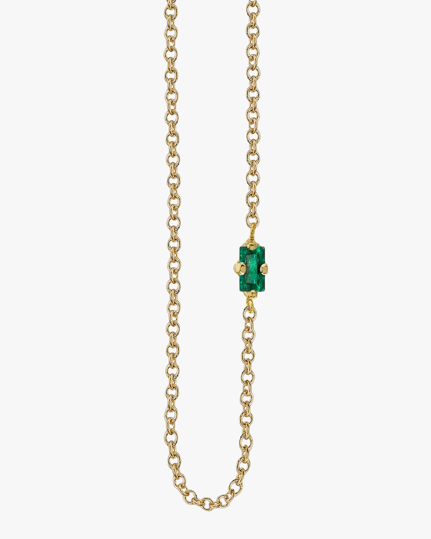 Baguette Emerald Floating Necklace